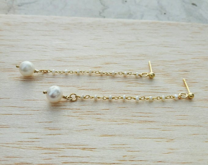 Long Pearl Earrings, Bridesmaid Gift, 14k Gold Filled, AAA Freshwater, Drop Earrings, Anniversary Gift, Wedding Earrings
