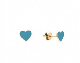 Turquoise Heart Earrings, Heart Stud Earrings, Gold Plated Earrings, Sterling Silver Heart Earrings, Black Stud Earrings