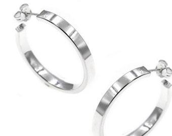 Hoop Earrings, 925 Sterling Silver Hoop Earrings, Square Hoop Earrings, Women Gift, Chic Bijoux