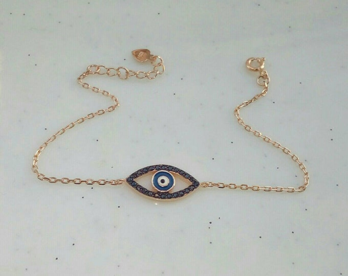 Rose Gold Evil Eye Bracelet, Cubic Zirconia Bracelet, Black Oval Evil Eye, Everyday Bracelet, Protection Jewellery, Anniversary Gift, Chic