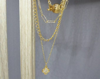 Triple Gold Necklace with CZ cross and Paperclip Chain