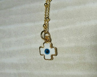 White Evil Eye Cross Necklace
