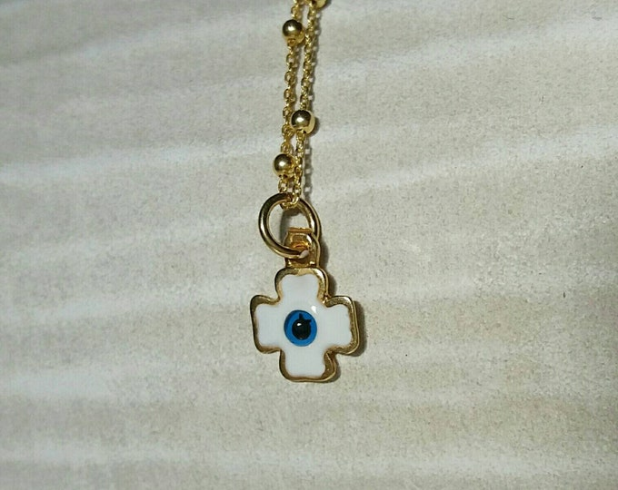 Christian Necklace, Evil Eye Cross Necklace, 14k Gold Filled, Best Friend Gift, Orthodox Cross, Christian Jewelry, Minimalist Cross Necklace