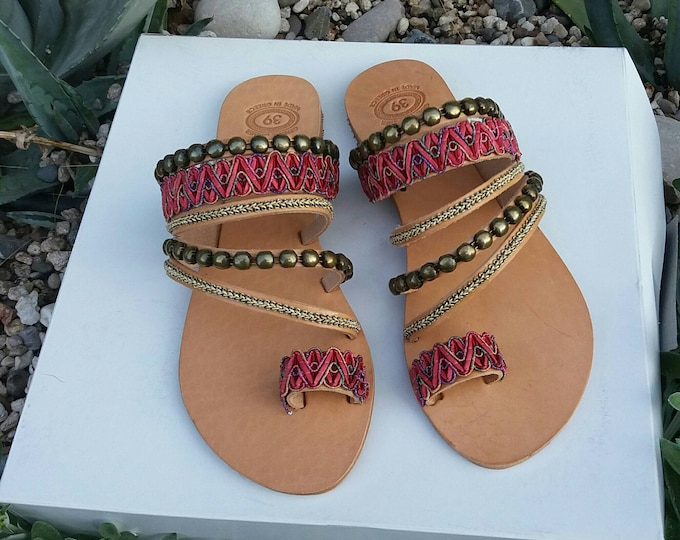 FREE SHIPPING, Bohemian Sandals, Handmade Boho Chic Sandals, Flat Shoes, Slide Toe Sandals, Decorated Leather Sandals, Greek Handmade Shoes