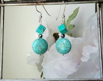 Turquoise Earrings, Silver Earrings, Delicate Drop Earrings, Best Gifts for Women, Sister Gift, Gifts for BFF, Bohemian Earrings