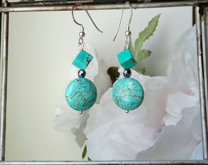 Turquoise Earrings, Silver Earrings, Delicate Drop Earrings, Best Gifts for Women, Anniversary Gift, Gifts for BFF