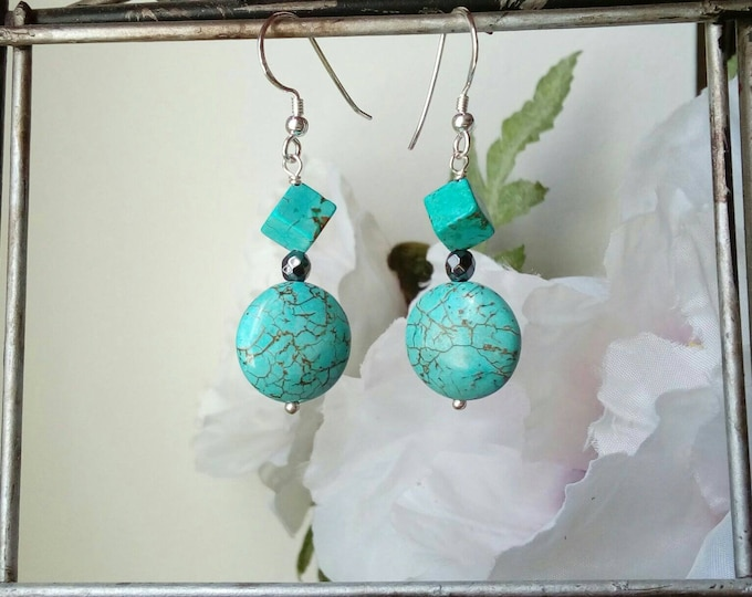 Turquoise Earrings, Silver Earrings, Delicate Drop Earrings, Best Gifts for Women, Sister Gift, Gifts for BFF, Bohemian Earrings
