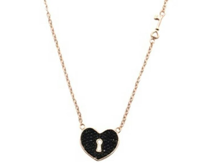 Heart Necklace, Cubic Zirconia Necklace, Rose Gold Filled Necklace, Black Heart Necklace, Key Locker Heart, Anniversary Gift, Birthday Gift