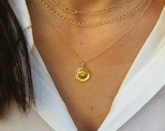 Paper Clip Chain, Gold Layered Chain Necklaces, Gold Evil Eye Coin Necklace, Set of 3 Necklaces 14k Gold Filled