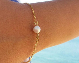Bridesmaid Gift, Pearl Bracelet, 14k Gold Filled, Freshwater Pearl, Layered Bracelet, Wedding Jewellery, Birthday Gift, Minimalist