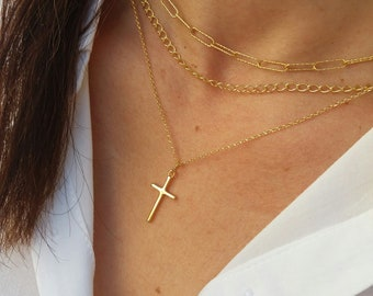 Gold Layered Chain Necklaces with Cross, Link Chain, Chunky Chain, 14k Gold Filled Cross, Paper Clip Chain