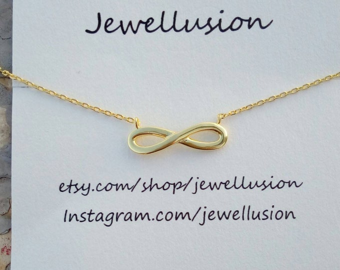 Infinity Necklace, 14k Gold Filled, Rose Gold Filled, Everyday Jewellery, Anniversary Gift, Bridesmaid Gift, Dainty Necklace, Chic Collier