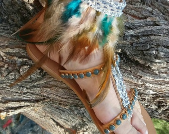 India Sandals, Boho Sandals, Bohemian Leather Sandals, Handmade Sandals, Turquoise Sandals, Boho Chic Clothing, Handmade Sandals