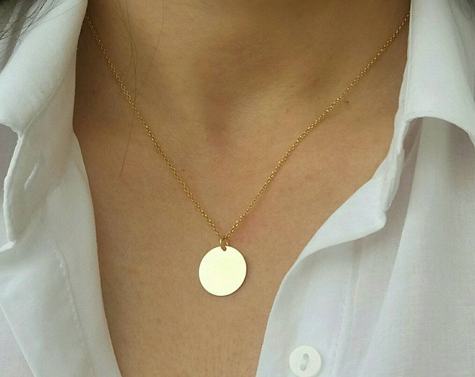 Gold Disc Necklace, Initial Disc Necklace, 14k Gold Filled Layered Necklace, Personalized Gold Necklace,  Chic Collier, Dainty Necklace