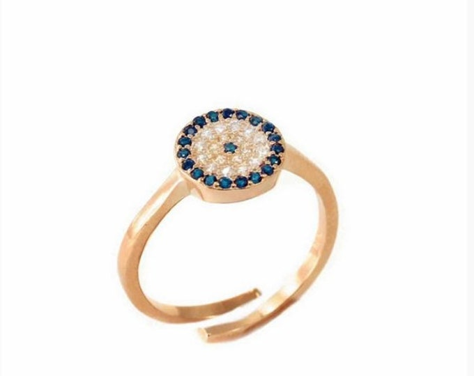 Blue Evil Eye Ring, Rose Gold Fill, Adjustable Ring, Cubic Zirconia, Dainty Ring, Everyday Ring, Anniversary Gift, Protection Ring, Chic