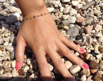 Tourmaline Bracelet, Rosary Bracelet, Beaded Bracelet ,Bridesmaid Gift, Wedding Bracelet, 14k Gold Filled or Sterling Silver