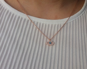 Zircon Evil Eye Necklace