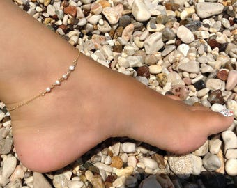 Pearl Rosary Anklet, 14k Gold Fill, Dainty Pearl Anklet, Beachwear Jewelry, Bridesmaid Gift, Bridal Jewellery, Birthday Gift