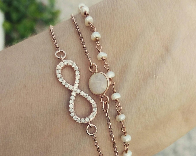 Infinity Bracelet - Rose Gold layered bracelets - Bridal Jewelry - Bridmaid gift - Pearl Rosary - Moonstone