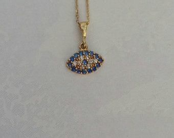 Solid Gold Evil Eye Necklace, Dainty Blue 14k Gold Necklace, Greek Mati, Protection Charm, Chic Collier
