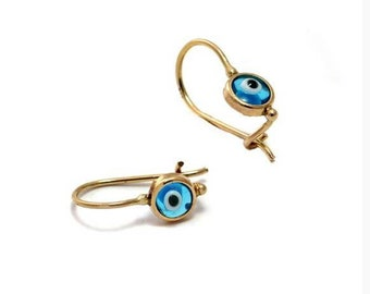 Solid Gold Evil Eye Earrings