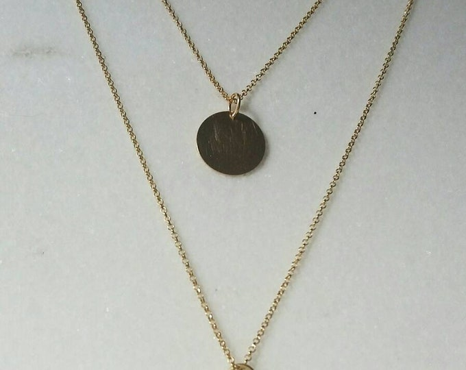 Layered Necklace, 14k Gold Filled, Phaistos Pendant, Disc Necklace, Bar Necklace, Ancient Greek Jewelry, Gifts for Her