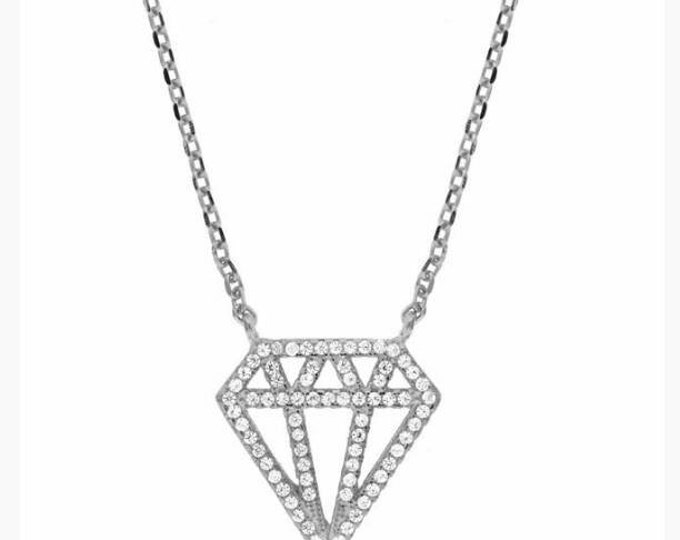 Diamond necklace, sterling silver necklace, Cubic zirconia, 925 sterling silver, everyday necklace