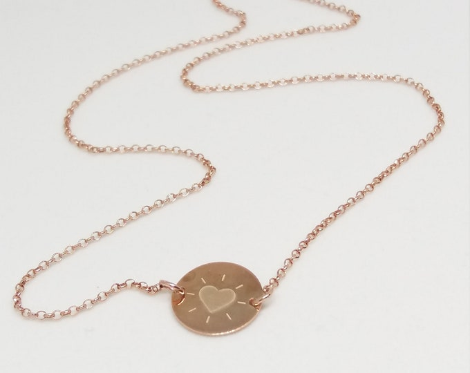 Engraved Heart Necklace, Rose Gold Filled Necklace, Dainty Heart Necklace, Birthday Gift, Anniversary Gift, Best Friend Gift, Chic Collier