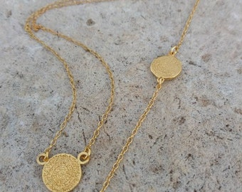 Greek Phaistos Disc Set, Greek Phaistos Coin Necklace and the matching Bracelet, Sterling Silver or 14k Gold Filled