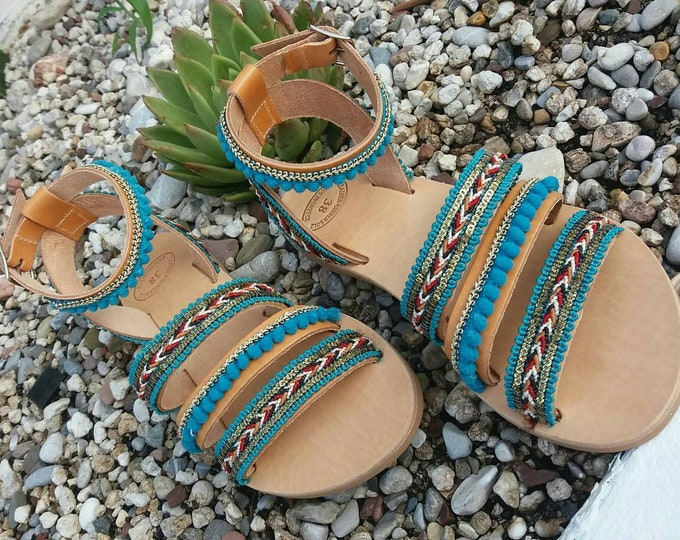 Turquoise Sandals, Boho Sandals, Genuine Leather Sandals, Boho Green Sandals, Handmade Greek Sandals, Gladiator Sandals, Summer Sandals