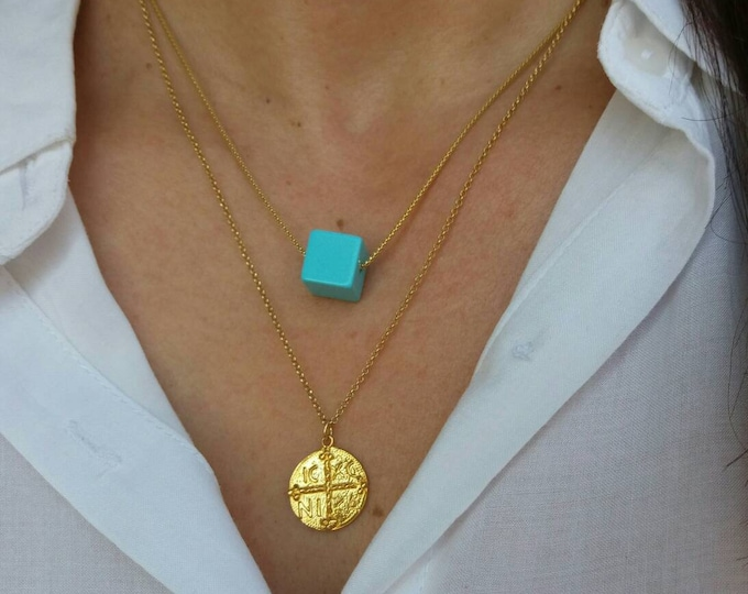 Featured listing image: Turquoise Cube Necklace Set, Christian Necklace, Double Necklace, Gold Layered Necklaces Set, Blue Cube Necklace, Square Glass Bead necklace