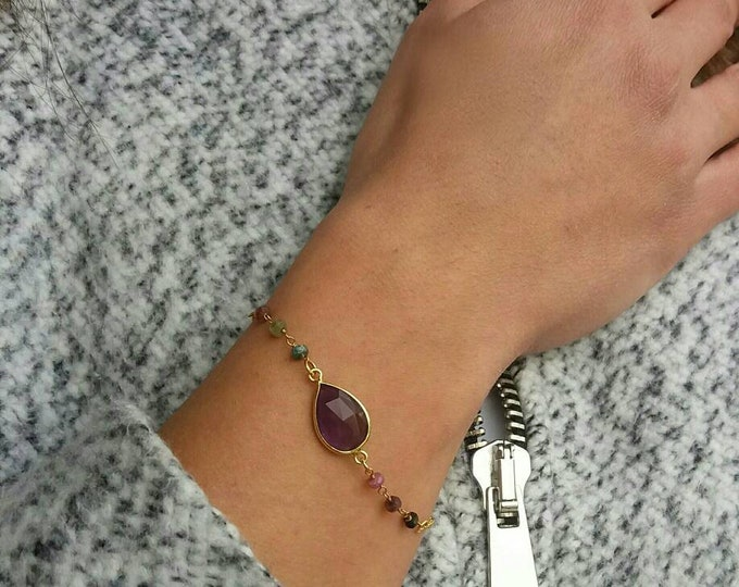 Amethyst bracelet, 14k gold filled tourmaline bracelet, rosary bracelet, beaded bracelet, everyday jewelry, gemstones