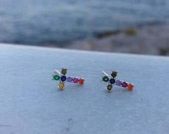Cross Colourful Earrings