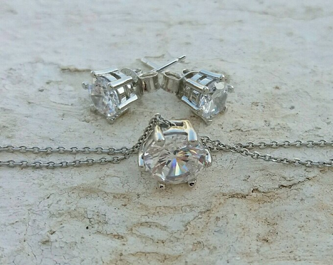 Floating Diamond Necklace Set - Cubic Zirconia Bridal Set - 925 Sterling Silver - CZ Stud Earrings - Dainty Necklace - Anniversary Gift