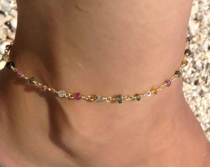 Tourmaline Rosary Anklet, 14k Gold Anklet, Beaded Anklet, Gemstones Anklet,  Beachwear Jewellery, Ankle Bracelet, Beachwear Jewellery, Chic