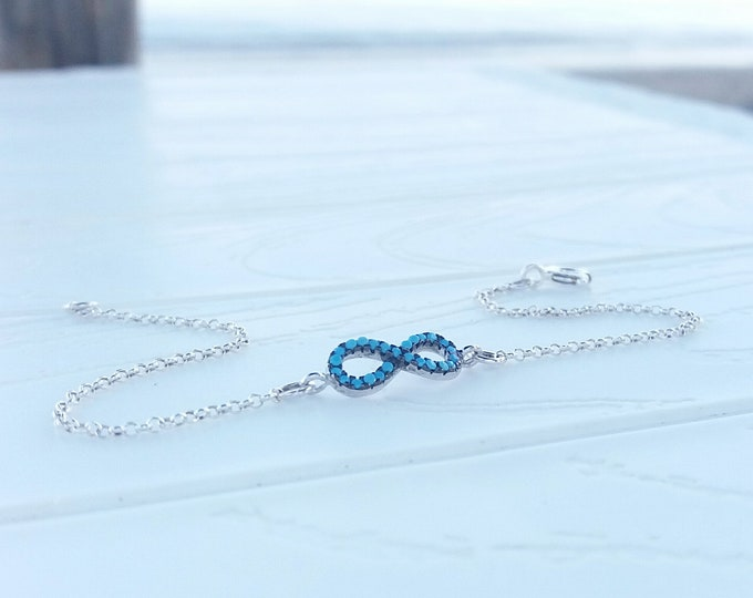 Infinity Bracelet Turquoise, Dainty Silver Bracelet, Protection Everyday Bracelet, Minimalist Bracelet, Bridesmaid Gift, Birthday Gift, Chic