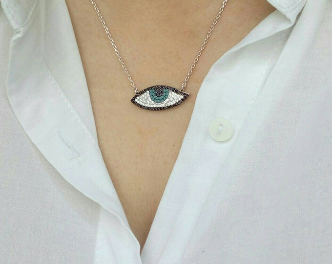 Evil Eye Necklace,Cubic Zirconia, Blue Eye Necklace, Protection Charm, 925 Sterling Silver, High Quality Chain, Birthday Gift, Boho Necklace
