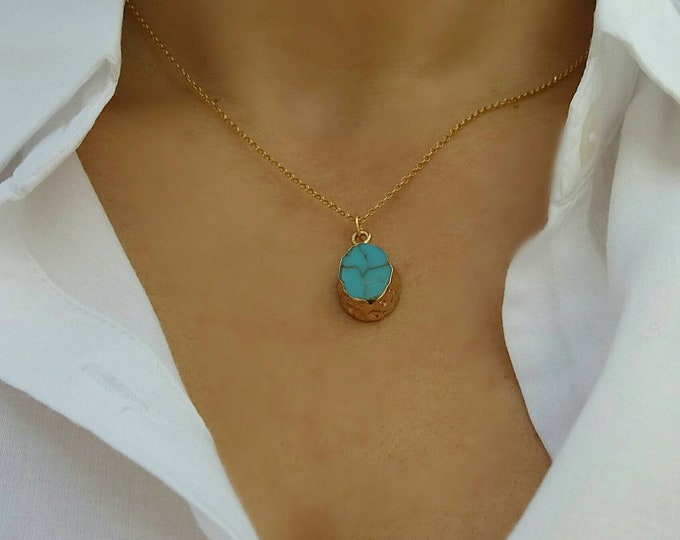 TURQUOISE NECKLACE 14K GOLD FILLED