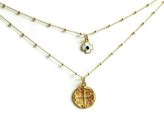 Christian Necklace, Evil Eye Cross Necklace, Gold Layering Necklace, 14k Gold Filled, Best Friend Gift, Baptism Gift, Dew Drop Chain, Chic