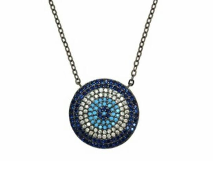 Evil Eye Necklace with Turquoise and Blue Cubic Zirconia, Sterling Silver Protection Charm, Valentine's Day Gift for women, Chic Collier