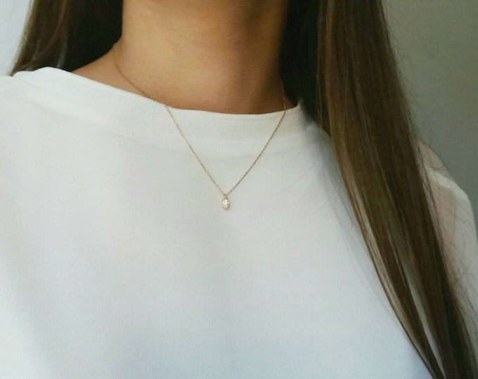 TEAR DROP DIAMOND NECKLACE