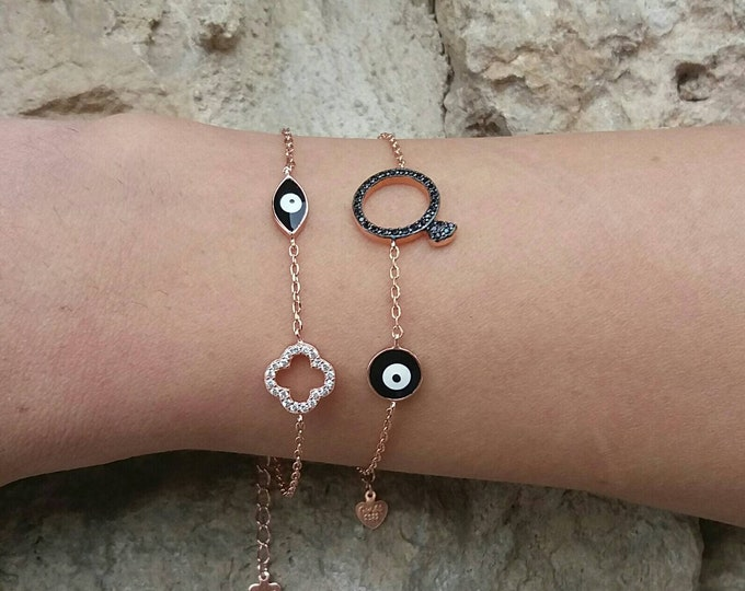 Solitaire ring bracelet, evil eye bracelet, rose gold filled, bridsmaid bracelet, evil eye charm