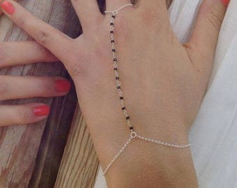 Rosary bracelet,slave bracelet, bracelet ring combo, onyx rosary, boho chic, boemian bracelet, trendy jewelry, gifts for her