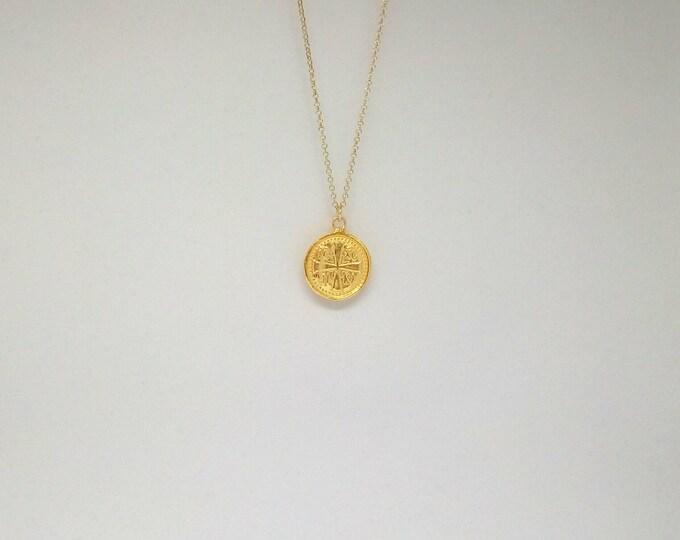 Christian Necklace, 14k Gold Filled Dew Drop Chain, Constantinato Necklace, Christian Necklace, Orthodox Pendant, Christian Words Necklace
