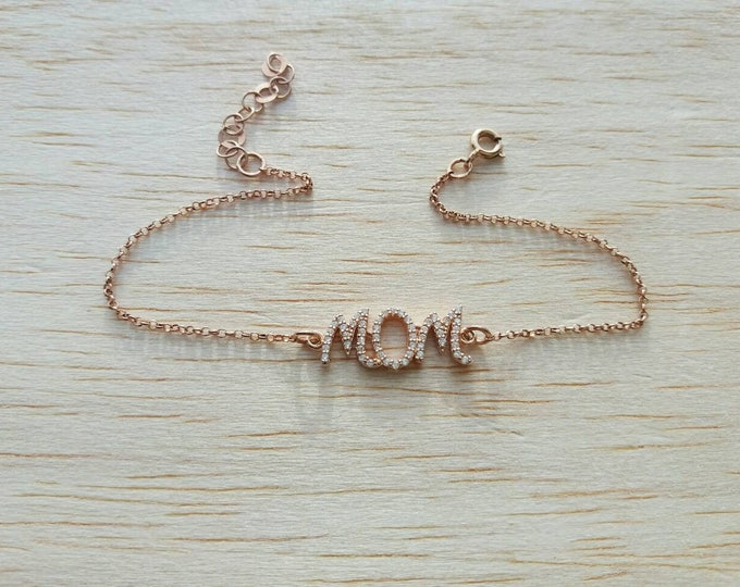 Mommy Bracelet, Rose Gold Filled Bracelet, Mother Gift, Cubic Zirconia Mom Bracelet, Delicate Initial Bracelet