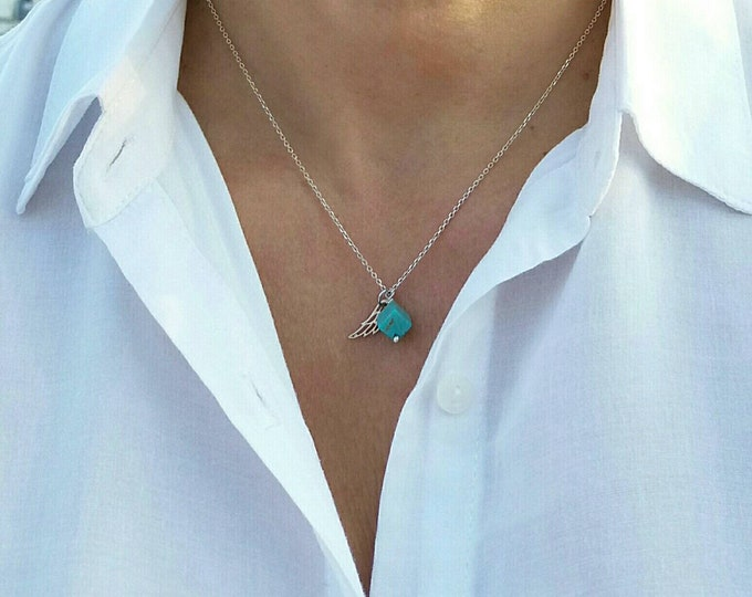 Wing Necklace, Turquoise Cube Pendant, Howlite Gemstone, Sterling Silver, Layered Necklace, Turquoise Necklace, Everyday Necklace