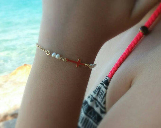 Gold Bracelet • Sideways Cross Bracelet • Freshwater Pearl • Best Friend Gift • Fine Pearls • Graduation Gift