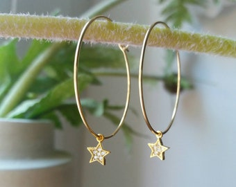 Hoop Star Earrings