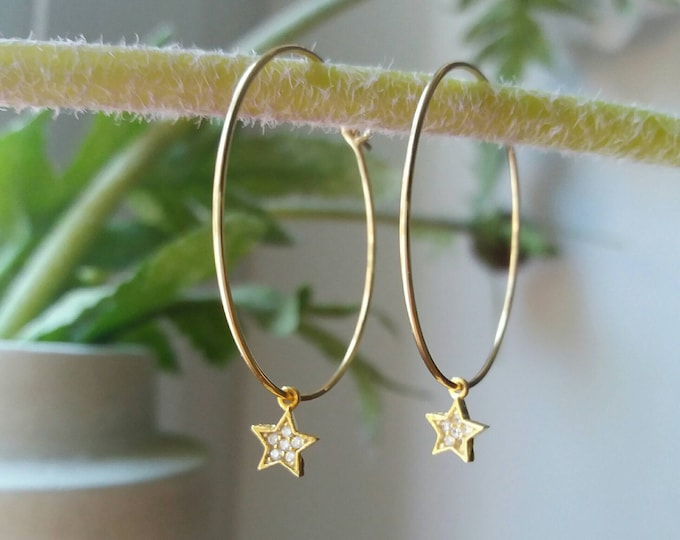 Star Hoop Earrings, 14k Gold Filled Hoop Earrings, Everyday Jewelry, Dainty Cubic Zirconia Star Earrings, Christmas Gift, Chic Bijoux
