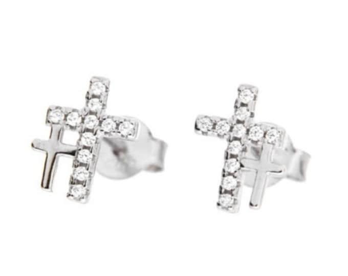 Cross Earrings, Cubic Zirconia Stud Earrings, Dainty Earrings, Anniversary Gift, Bridal Earrings, Bridesmaid Gift, Minimal cross